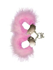 Metallic Handcuffs,Feather Cov.. Pink